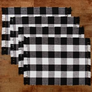 4 Pack Buffalo Plaid Placemat Black and White